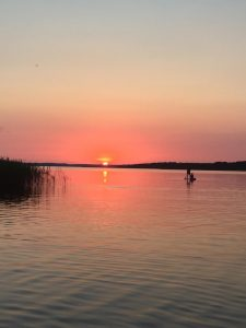 Coucher de soleil sur le lac de Sanguinet
